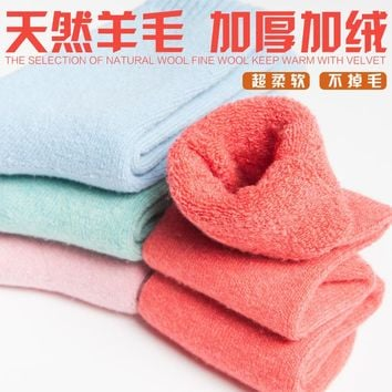 Fashion women's winter thick warm cotton wool socks with velvet candy color terry towel soft socks hot sell(ztw263)
