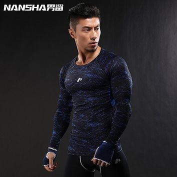 2017 Newest 3D Print Long Sleeve T Shirt Fitness Men Bodybuilding Crossfit NANSHA Brand Compression Shirts Clothing M-XXL