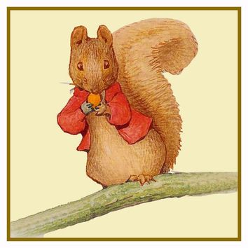 Timmy Tiptoes Chipmunk on Branch inspired by Beatrix Potter Counted Cross Stitch or Counted Needlepoint Pattern