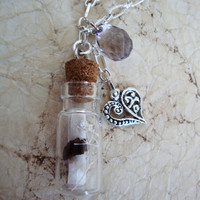 Necklace, Message In A Bottle - Every time I Breathe, I Miss You, Silver Chain, Etsy Jewelry, Free Shipping USA, Buy 2 Get 1 Free