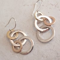 Sterling Silver Earrings Gold Circles David Sigal Canada Pierced Two Tone