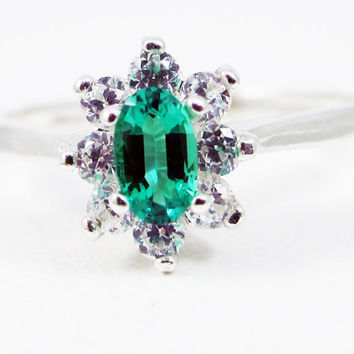 Small Emerald Oval Halo Ring Sterling Silver, May Birthstone Ring, Oval Emerald Ring, Emerald Halo Ring, Lab Emerald Ring