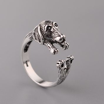 Hainon Dachshund Dog Rings for Women Girls Pet Lover Gift OPen Rings Jewelry Antique Silver Puppy Animal Party Engagement Rings