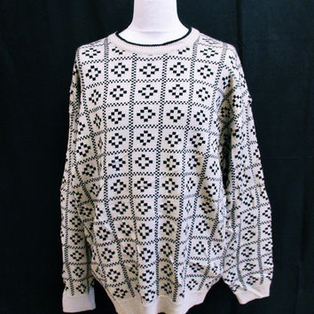Vintage 1990s AZTEC GEOMETRIC Sweater Jumper XL Hip Hop Crazy Pattern