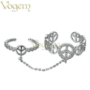 VOGEM Peace Ring Chain Silver Plating Czech Rhinestone Two Open Adjustable Middle Knuckle Rings For Women Joint Ring