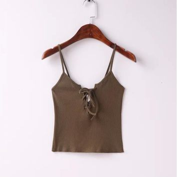 Sexy chest lace up small vest crop top halter vest Khaki 5 color