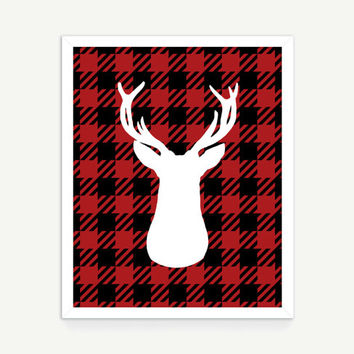 Stag Printable Art - Downloadable Art Print - Deer Plaid Pattern Wall Art - Silhouette Animal Wall Art Modern Wall Art- Instant Download