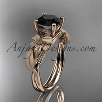 14kt rose gold leaf and vine engagement ring with a Black Diamond center stone ADLR189