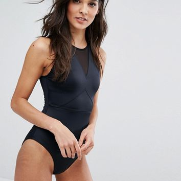 ASOS 'Sculpt Me' Control High Neck Mesh Insert Supportive Swimsuit at asos.com