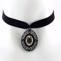 Black Rose Cream Cameo Pendant on a Velvet Choker One of a Kind OOAK - Gift, Gothic, Goth, Victorian, Lolita