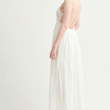 final sale - open back crochet maxi dress - white