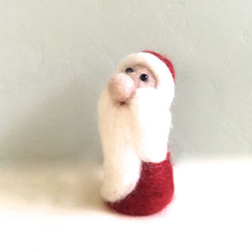 Santa Claus Christmas decorations Christmas decor Xmas gift Christmas ornaments Santa doll Christmas stocking red white wool needle felt