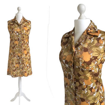 Vintage House Dress - Late 60s, Early 70s - Vintage Dress - Mustard and Sage Floral Dress - Sleeveless Shirt Dress