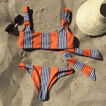 2018 new bikini swimsuit sexy printed striped split swimsuit