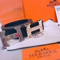 Hermes Men Belt Big Buckle Gold With Silver Buckle Belt B-AGG-CZDL Black