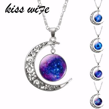 1 Pcs Hollow Moon & Glass Galaxy Statement Necklaces Silver Chain Pendants 2016 New Fashion Jewelry Collares Friend Best Gifts