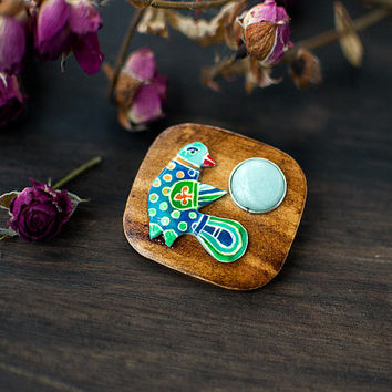 Blue Bird wooden gemstone brooch, Slavic medieval style handpainted jewelry, woodland boho jewelry, blue mint and brown, mint blue nephrite