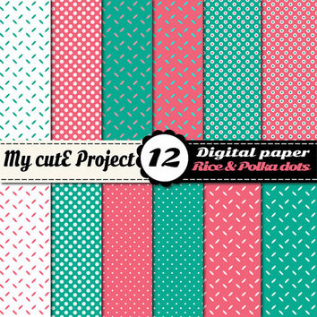 "Grain of rice & polka dots - Turquoise and pink - Instant Download - DIGITAL PAPER - A4 and 12x12"" - Scrapbooking"