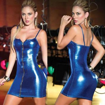 Women's Sleeveless Leather Dress Catsuit M-XL 2 Colors