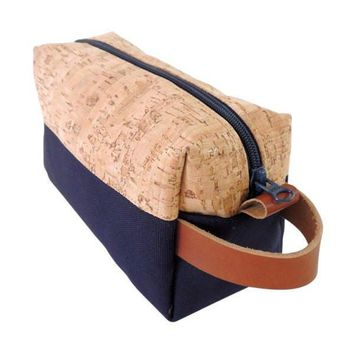Navy Canvas Cork Hybrid Hygiene Bag