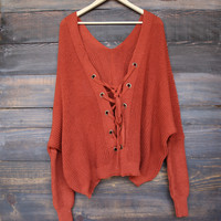 oversize grommet lace-up back sweater - rust
