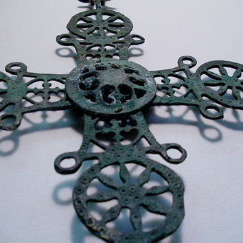Vintage  Cast Iron Cross with Candle Holders Religious