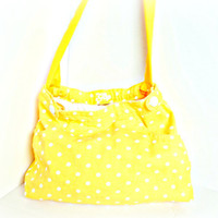 Yellow polka-dot purse recycled from a jean skirt