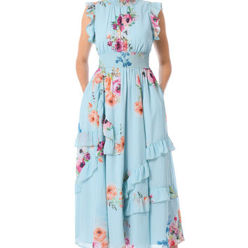 Ruffle floral print georgette smocked waist dress