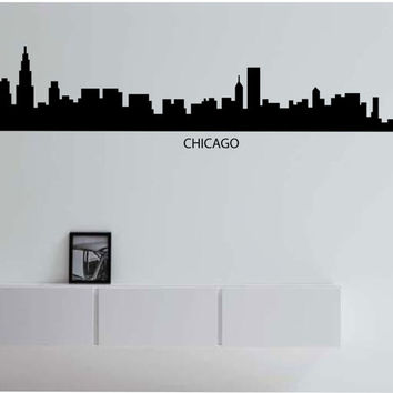 Chicago Skyline City LARGE Vinyl Wall Decal Sticker Art Decor Bedroom Design Mural City modern