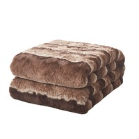 Tache Golden Brown Faux Fur Sherpa Throw Blanket (DY01)