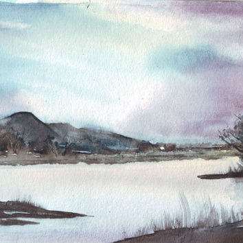 Original watercolor art early morning lake painting mountains water reflections