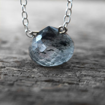 Holiday Exclusive - Mossy Gray Aquamarine Necklace
