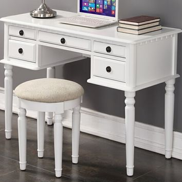 2 pc white finish wood student writing desk set with curved legs stool with multiple drawers