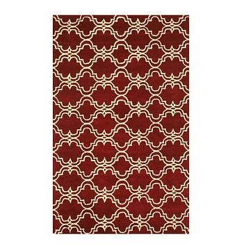 EORC Hand-tufted Wool Red Traditional Trellis Moroccan Rug
