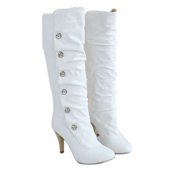 Casual PU Leather Boots With Heel Studs Design