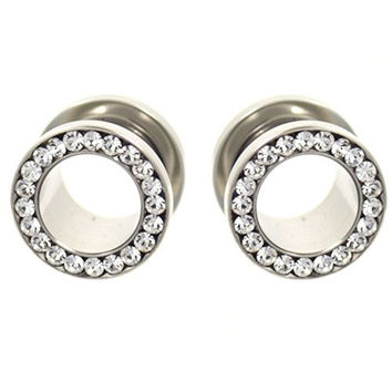 Pair of Clear Gemmed Rim Stainless Steel Tunnels Bling Ear Plug Gauges - 00G 10MM