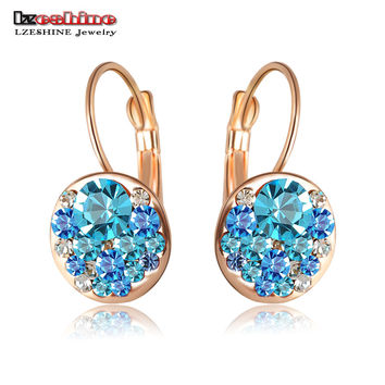 Top Sale Party Chrsitmas Jewelry Fashion Round Earrings Stud  Rose Gold Plated Austrian Full Crystals Women Earrings ER0118