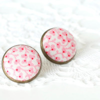 Stud Earrings - Porcelain Earring Studs - Pink and White Flowers Fabric Button Jewelry - Porcelain Earring Posts