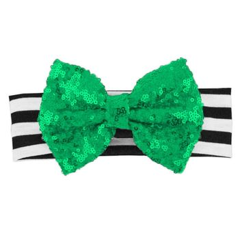 Black Stripe Green Sequin Bow Headband