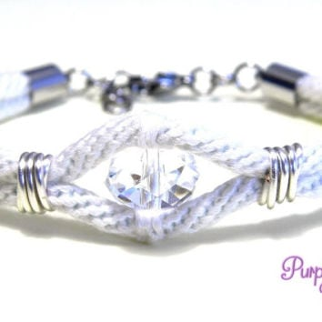 AZALEA Wire wrapped Kumihimo Bracelet, Braided Rope Bracelet with Swarovski Crystal Bead - White/Crystal