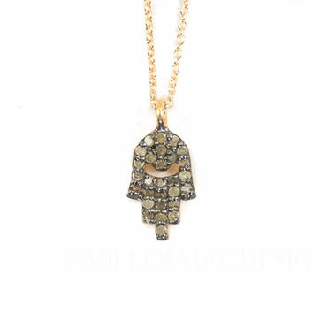 Pave Diamond Hamsa Charm Necklace | Diamond Necklace | Diamond Hamsa | Hamsa Necklace | Boho Necklace | Minimalist Necklace | Boho Jewelry