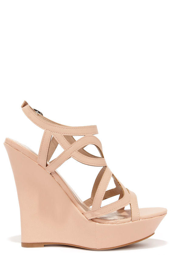 bf6fc4ce07e Pretty Please Nude Caged Wedge Sandals from Lulu s