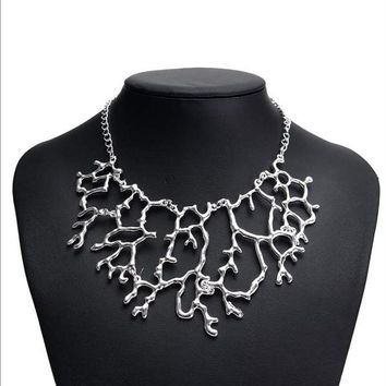 Women Necklace Coral Hollow Choker Statement