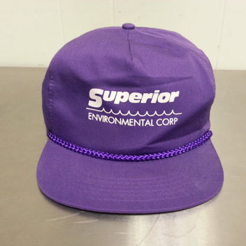 Vintage 90's New Superior Enviromental Corp Zip Back Slide Back Hat Dad Hat Hipster Style Purple NWOT