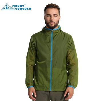 Men's Outdoor Sports Waterproof Quick Dry Coat Breathable Hooded Shirts Summer Hiking Camping Sun-Protective Jackets