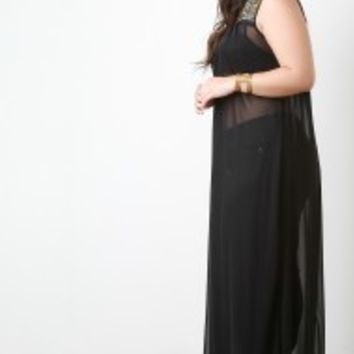 Plus Size Studded Yoke Semi Sheer Chiffon Maxi