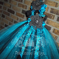 Beautiful Turquoise Blue/Black Tutu Dress Zebra Accents--Pageant,Flower Girl,1st Birthday,Holiday--Unique,Photo--Baby,Toddler,Infant--Bright