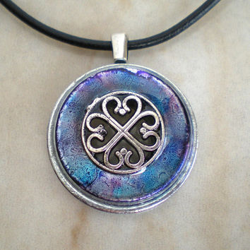 Celtic Heart Necklace: Violet - Clover - Wiccan Jewelry - Celtic Jewelry - Celtic Necklace - Irish Jewelry - Heart Jewelry
