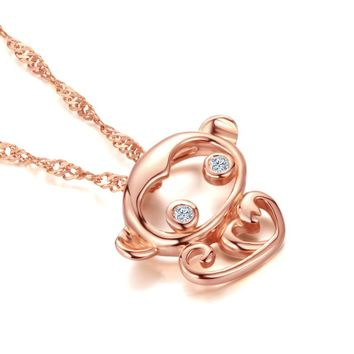 DOUBLE-R Cute Monkey Pendants Ladies 0.02ct Diamond 925 Silver Rose Gold Necklaces Romantic Fine Jewelry Customized CAP03760SA-3