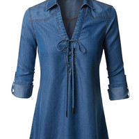 LE3NO Womens Roll Up Long Sleeve Lace Up Front Tencel Denim Top